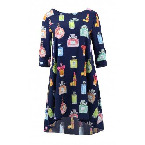 Sukienka trapezowa z kieszeniami wzorzysta (perfumy granat)