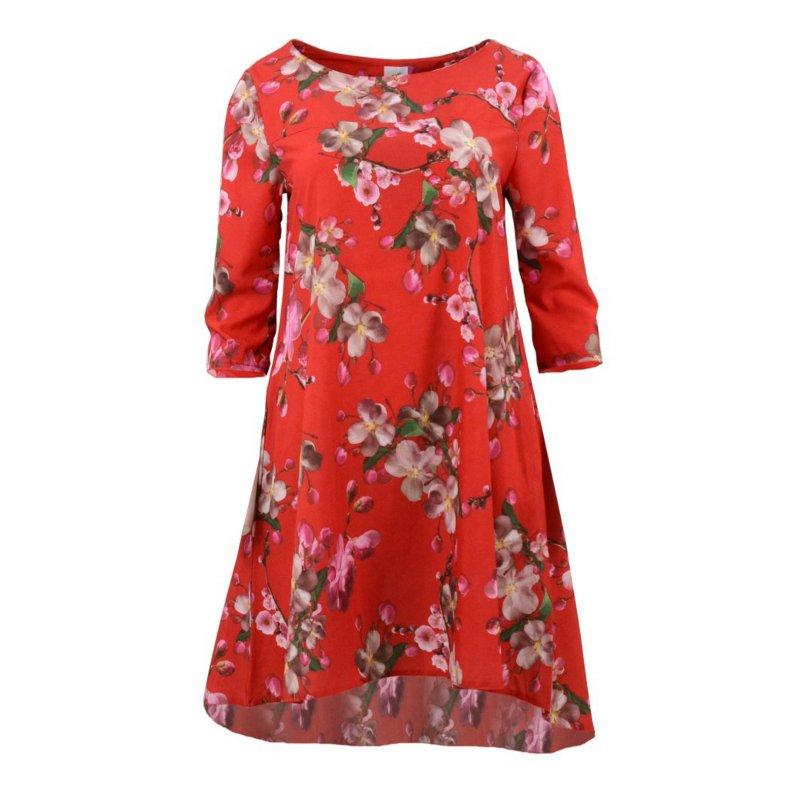 Sukienka trapezowa z kieszeniami wzorzysta (różowe kwiaty czerwień)