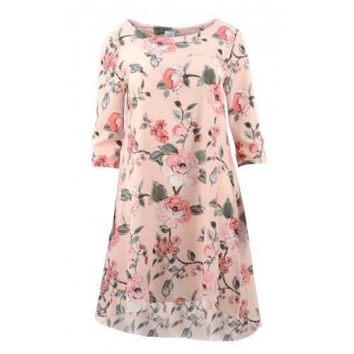 Sukienka trapezowa z kieszeniami wzorzysta (róże)