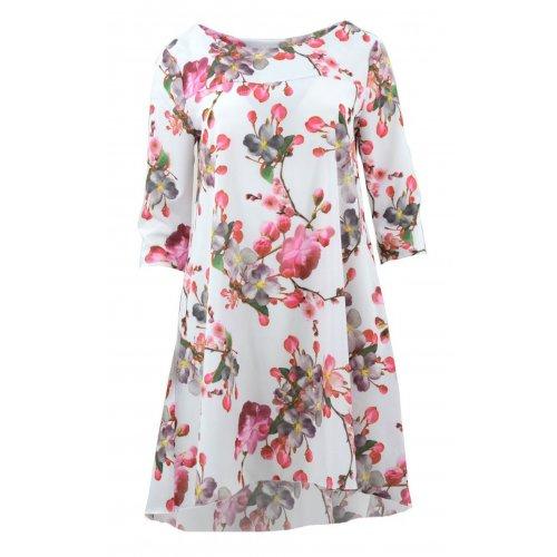 Sukienka trapezowa z kieszeniami wzorzysta (różowe kwiaty- biel)
