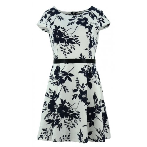 Sukienka z koła w kwiaty (biała)
