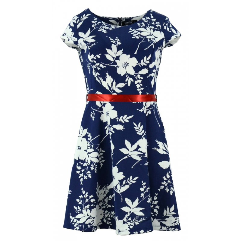 Sukienka z koła w kwiaty (jasny granat)