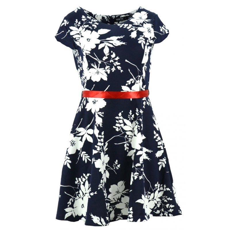 Sukienka z koła w kwiaty (ciemny granat)