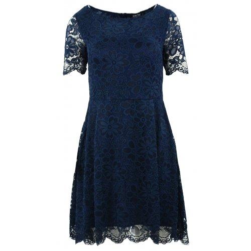 Sukienka rozkloszowana z delikatnej koronki (granatowa)