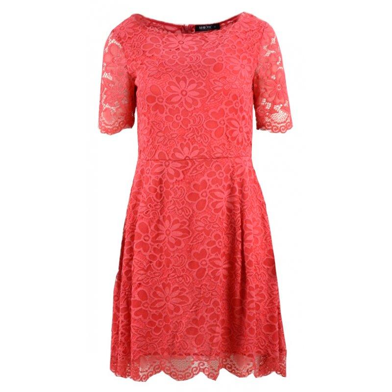 f1b24b2e Sukienka rozkloszowana z delikatnej koronki (koralowa) | eStilex.pl | Modna  i tania odzież damska online, pościel 3D, narzuty