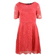 Sukienka rozkloszowana z delikatnej koronki (koralowa)