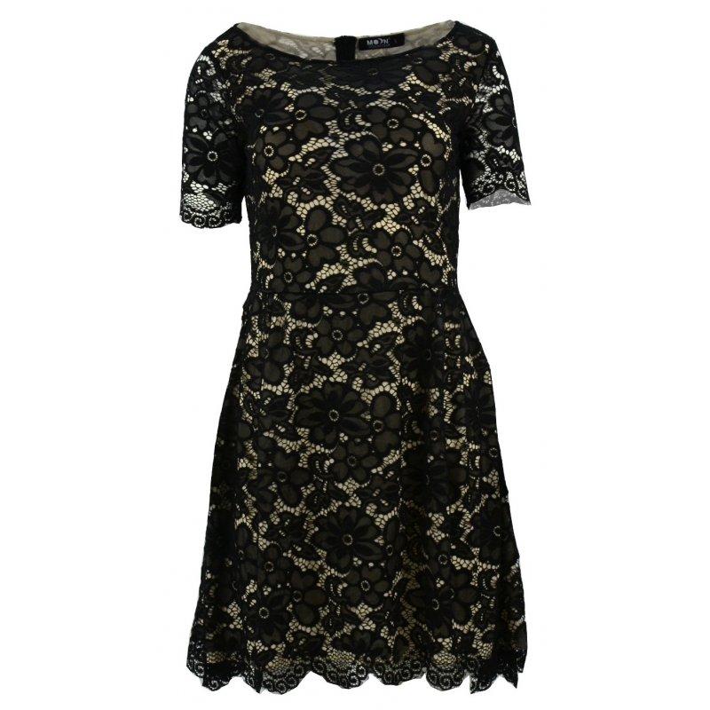 cb1ad2d6d4 Sukienka rozkloszowana z delikatnej koronki (czarna)