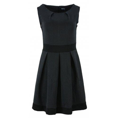 Tanie sukienki rozkloszowane w kropki (czarna)