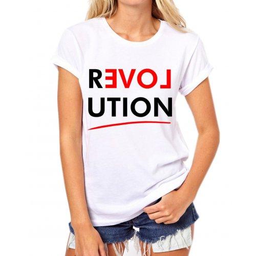 Tanie t-shirty damskie z napisami REVOLUTION (biała)