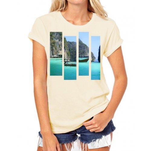 Tanie t-shirty damskie z nadrukiem PARADISE (beżowa)