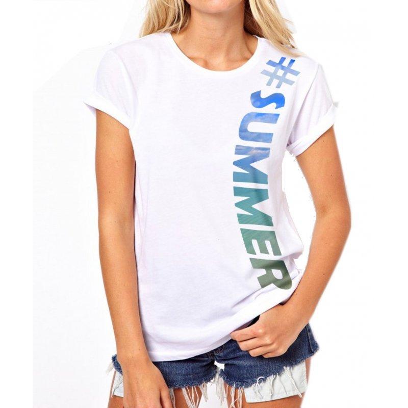 Tanie koszulki damskie SUMMER (biała)