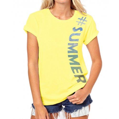 Tanie koszulki damskie SUMMER (żółta)