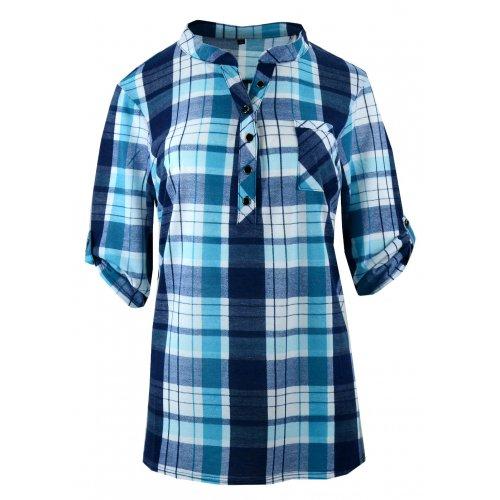 Tanie koszule w kratę z miękkiej dzianiny DUŻY ROZMIAR (turkus)