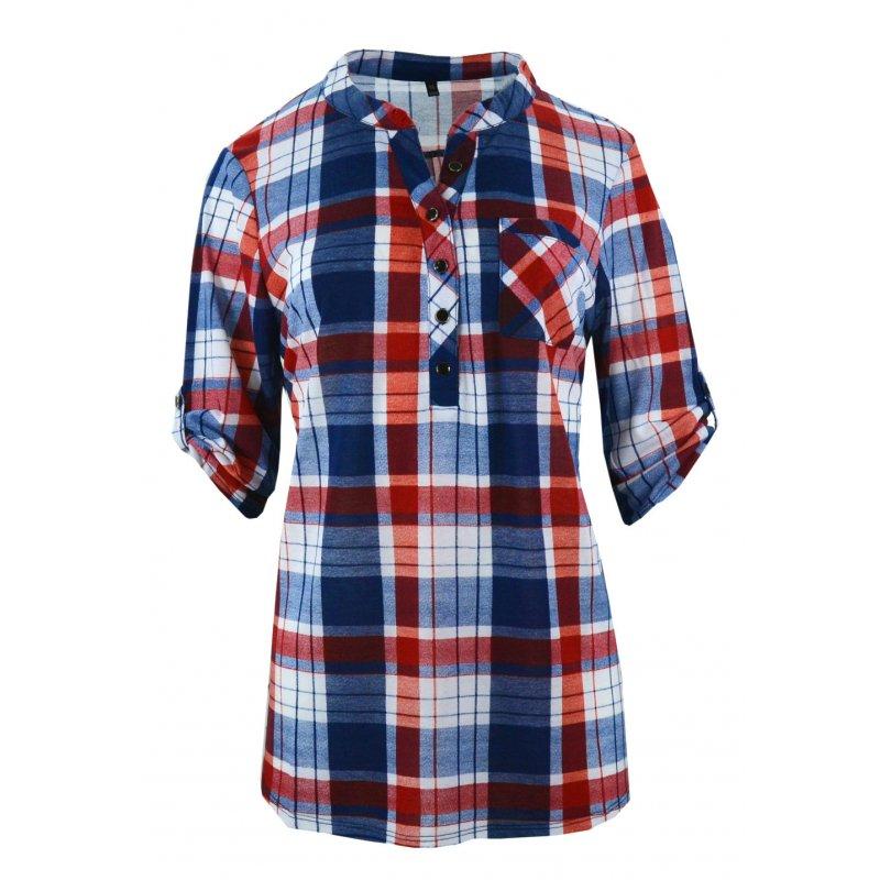 Tanie koszule w kratę z miękkiej dzianiny DUŻY ROZMIAR (czerwona)