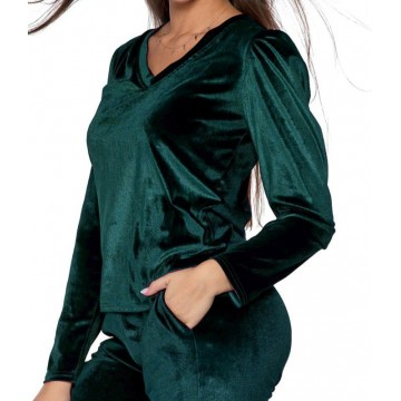 Bluzka damska welurowa z bufkami - zielona