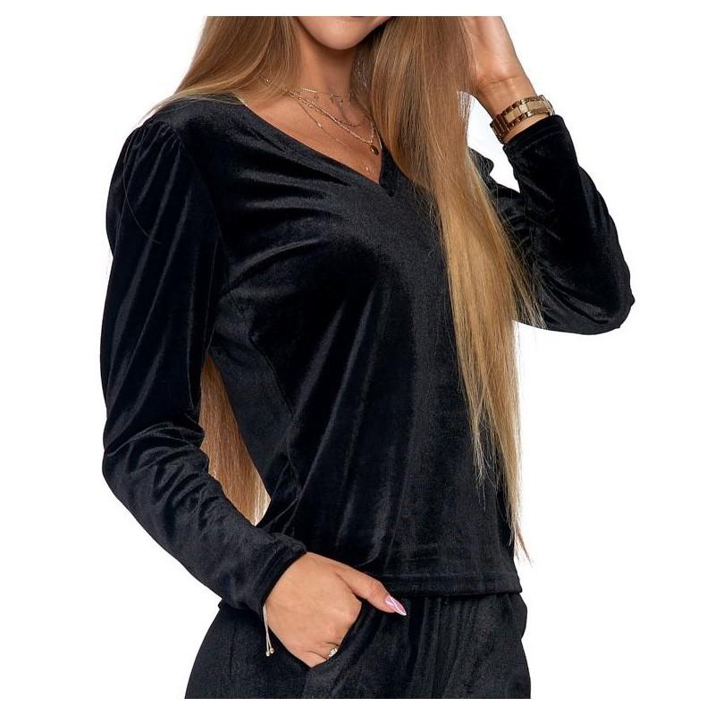 Bluzka damska welurowa z bufkami - czarna