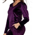Bluzka damska welurowa z bufkami - śliwkowa
