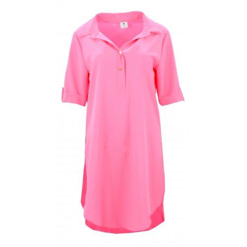 Tunika koszulowa DUŻY ROZMIAR w pięknym kolorze (neonowy róż)