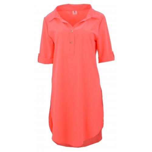 Tunika koszulowa DUŻY ROZMIAR w pięknym kolorze (neonowy pomarańcz)