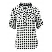 Koszula w kratę ze wstawką z ekoskóry (czarno-biała)