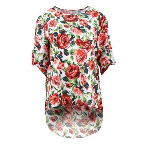 Koszula asymetryczna w róże (biała)