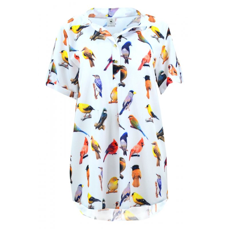 Koszula asymetryczna BIRDS (biała)
