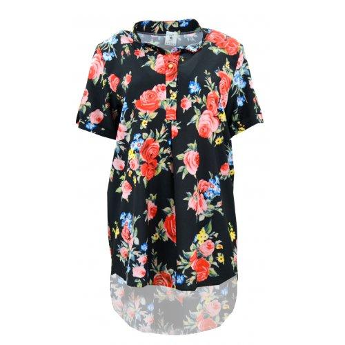 Koszula asymetryczna RÓŻE (czarna)