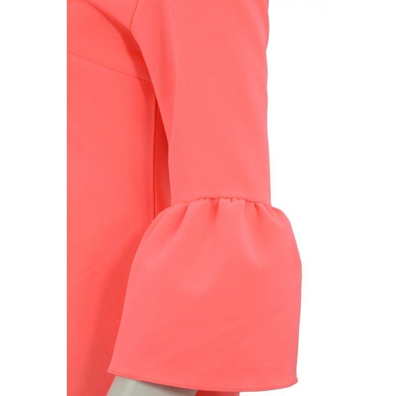 Sukienka trapezowa z falbankami na rękawie (neonowa brzoskwinia)