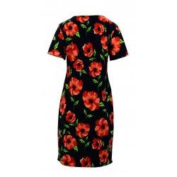 Sukienka ołówkowa w maki D. ROZMIAR (czarna)