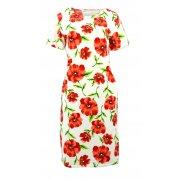 Sukienka ołówkowa w maki D. ROZMIAR (biała)