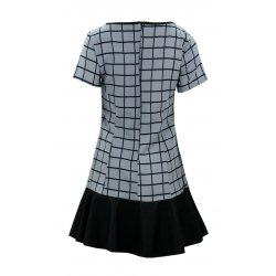 Sukienka z falbaną z ekoskóry (szara kratka)