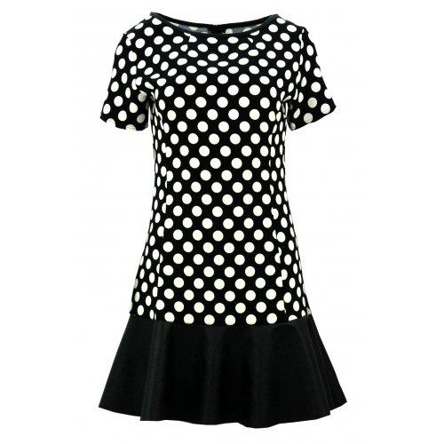 Sukienka z falbaną z ekoskóry (czarna)