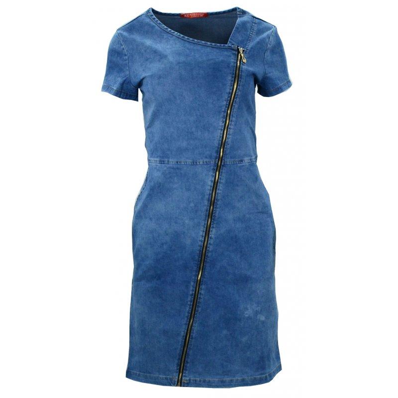 Sukienka jeansowa ze skośny zamkiem