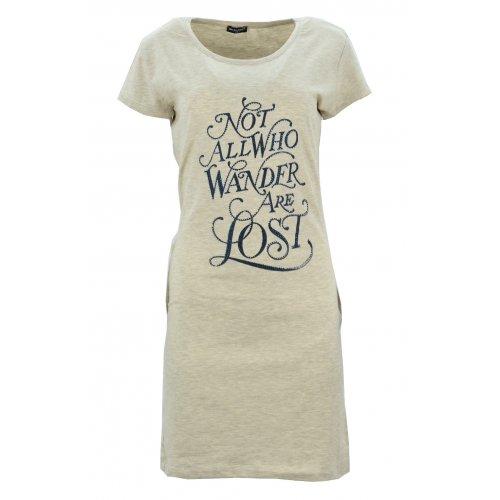 Sukienka/ tunika z napisami i kieszeniami (beżowa)