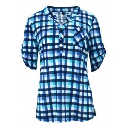 Koszula w kratkę z miękkiej dzianiny DUŻY ROZMIAR (turkusowa)