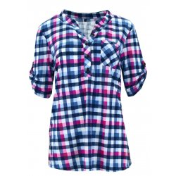 Koszula w kratkę z miękkiej dzianiny DUŻY ROZMIAR (różowa)