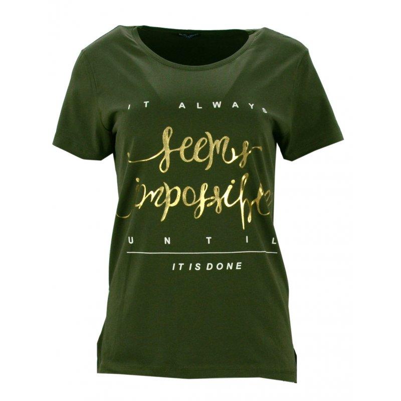 Bluzka asymetryczna ze zlotymi napisami (zielona)