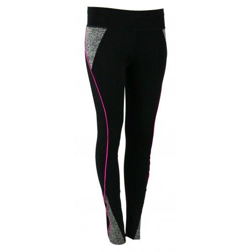 Sportowe czarne legginsy Z LAMPASEM (fuksja)