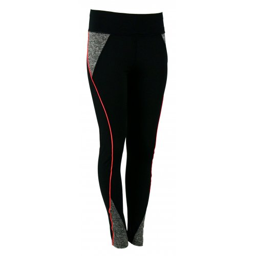 Sportowe czarne legginsy Z LAMPASEM (neonowy koral)