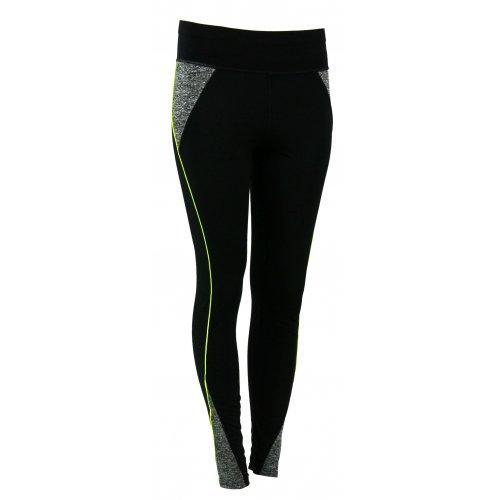 Sportowe czarne legginsy Z LAMPASEM (neonowa zieleń)