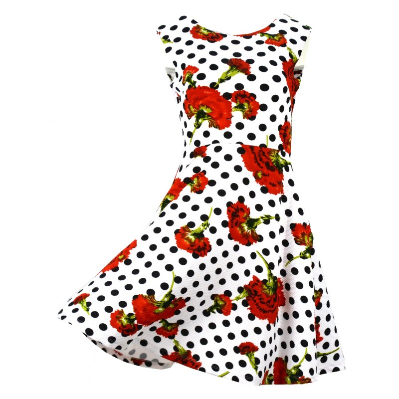 Sukienka rozkloszowana w kwiaty i w kropki
