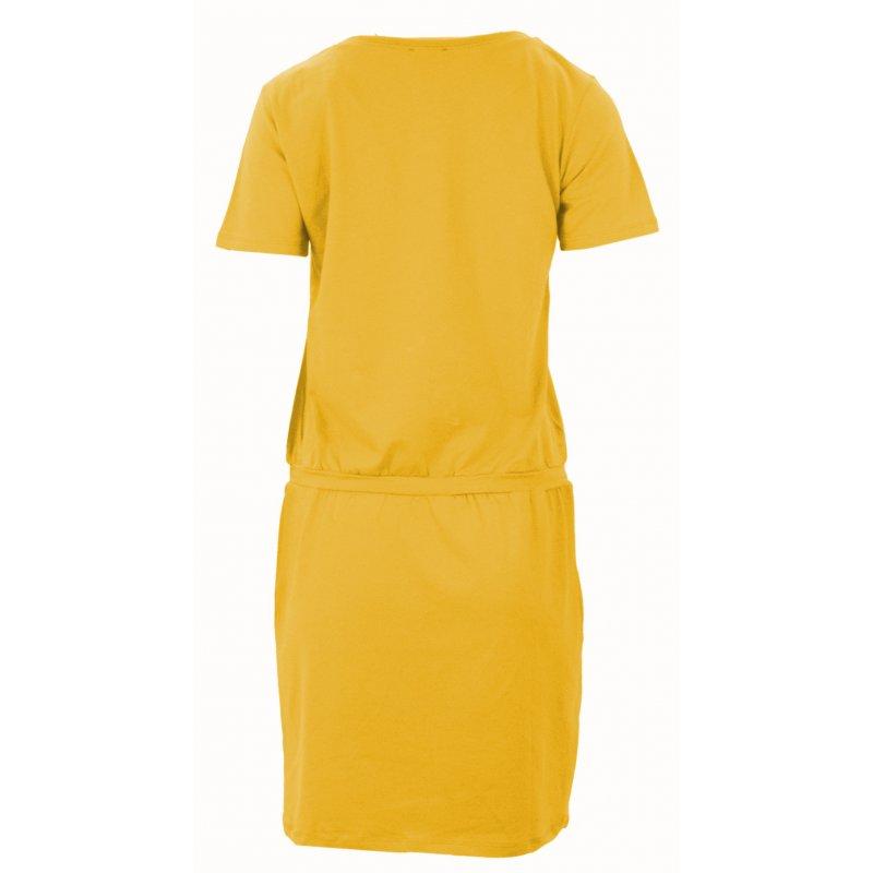 Sukienka sportowa z dzianiny z napisami (żółta)