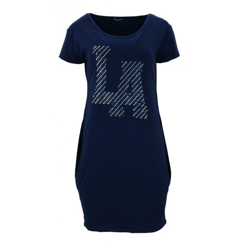 "Sukienka tunika z kieszeniami ""LA"" (granatowa)"