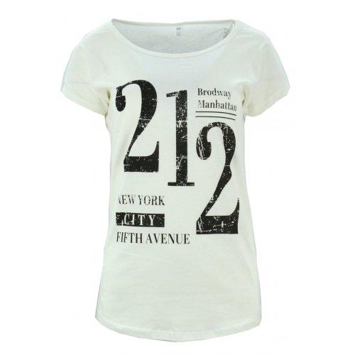 Koszulka bawełniana z napisami 212 (kremowa)