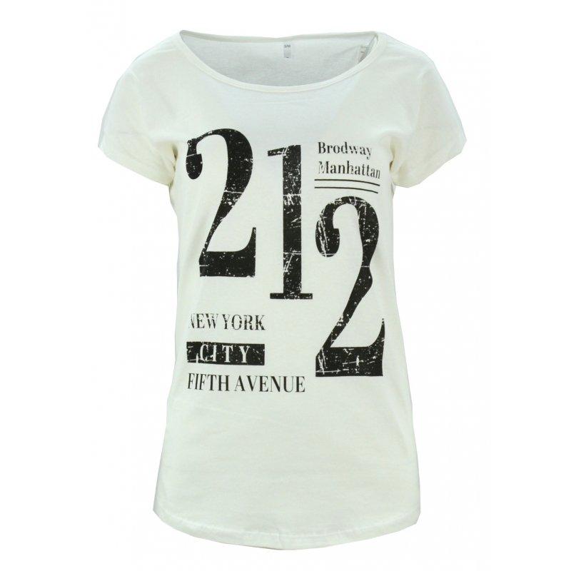 t-shirt damski z napisami 212 (kremowa)