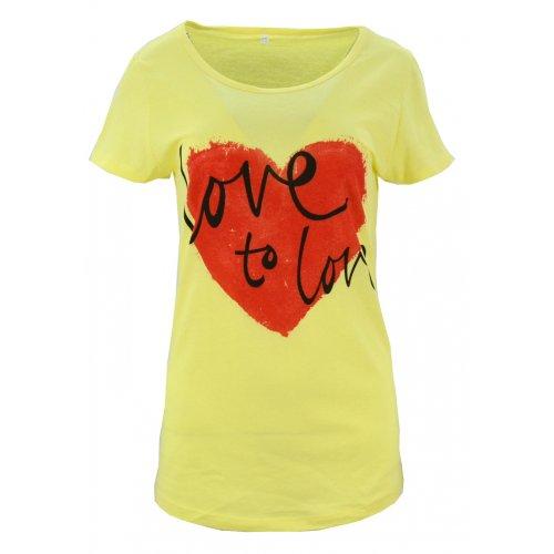 Koszulka bawełniana z napisami Love to love (żółta)