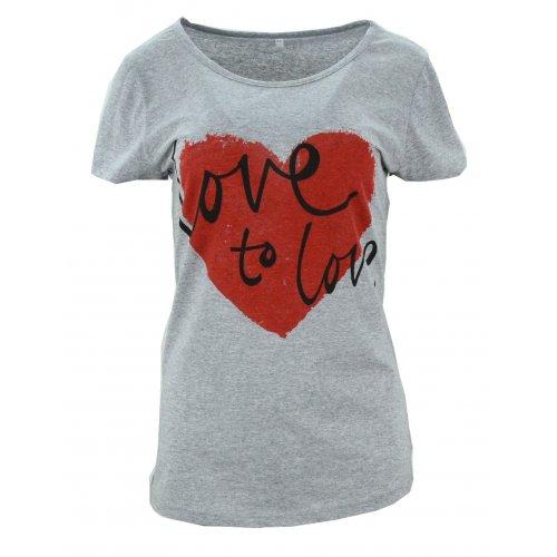Koszulka bawełniana z napisami Love to love (szara)
