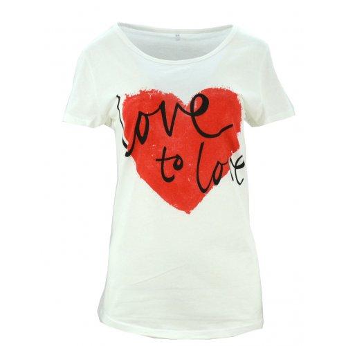 Koszulka bawełniana z napisami Love to love (kremowa)