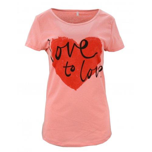 Koszulka bawełniana z napisami Love to love (malinowa)