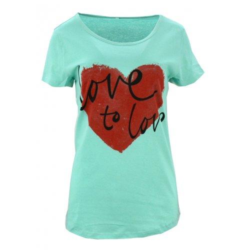 Koszulka bawełniana z napisami Love to love (turkusowa)